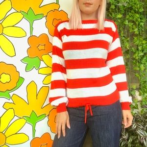 Vintage 70s 80s red striped acrylic sweater S/M